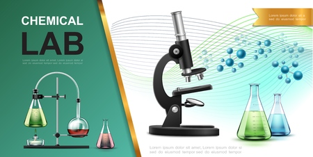 Realistic laboratory chemical research template with microscope flasks tubes spirit lamp burner and molecules vector illustration