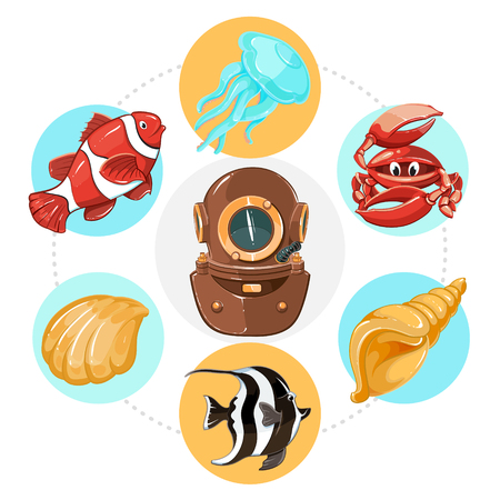 Cartoon underwater life concept with diver helmet fish jellyfish shells and crab in colorful circles isolated vector illustration Illustration