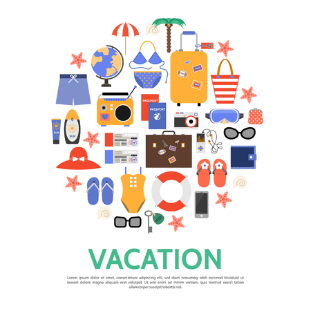 Flat beach vacation concept with bags palm globe sunglasses lifebuoy wallet umbrella passport tickets slippers radio camera swimsuit swimming trunks mask vector illustration