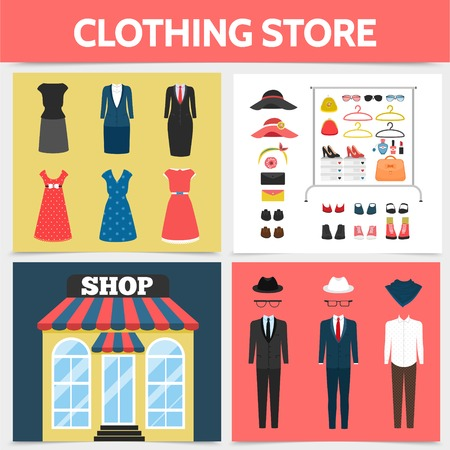 Flat clothing shop square concept with store facade dresses suits hats eyeglasses shoes brooch cosmetic products lady bags sneakers coathangers isolated vector illustration Illustration