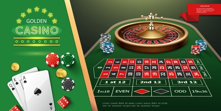 Realistic casino roulette template with wheel and game dices on table playing cards chips vector illustration