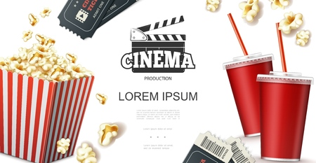 Realistic cinema elements concept with soda in paper cup tickets clapperboard and popcorn in red striped bucket vector illustration Illustration