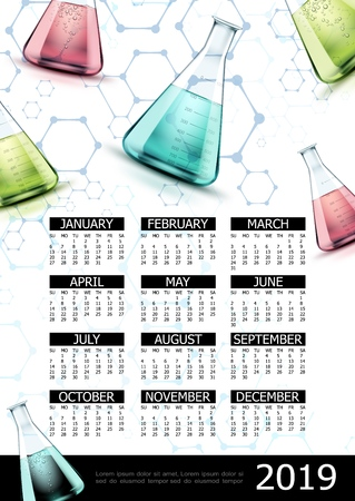 Realistic laboratory 2019 year calendar template with molecular structure and glass flasks with colorful liquid vector illustration