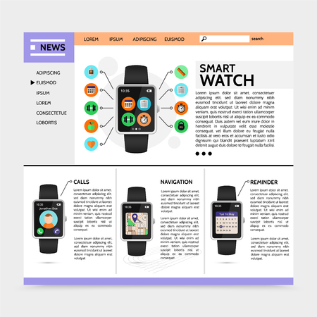 Flat modern technology website template with smart watch sport and fitness widgets call navigation reminder applications vector illustration