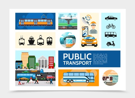 Flat public transport infographic template with tram taxi operator road traffic bus subway cruise ship scooter bicycle vector illustration Illustration