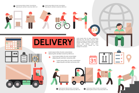Flat courier service template with operator calendar checklist truck delivery of goods to customer vector illustration