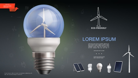 Realistic modern electricity template with energy saving lightbulbs solar panels and windmill vector illustration