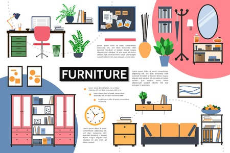 Flat furniture infographic concept with designer workplace plants cupboard pictures clock nightstands mirror rack desk shelves sofa plate of fruits vector illustration Illustration
