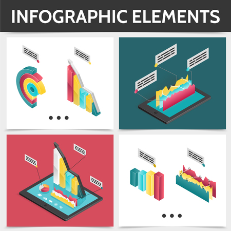 Isometric colorful square infographic concept with 3d business diagrams bars charts and graphs isolated vector illustration Illustration