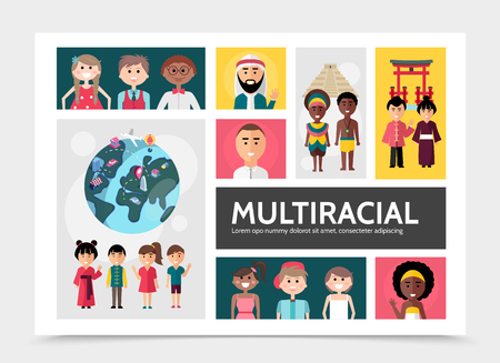 Flat multiracial people infographic concept with multiethnic and multicultural families globe national sights vector illustration