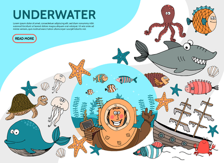 Flat underwater life elements set with diver whale octopus shark fish starfish turtle jellyfish crab sunken ship seaweed vector illustration