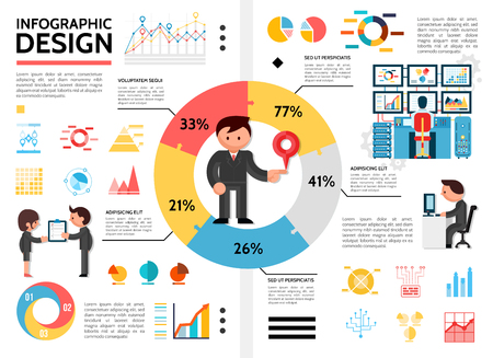 Flat infographic elements concept with man standing in center of pie chart diagrams graphs business people holding checklist and working on computer vector illustration