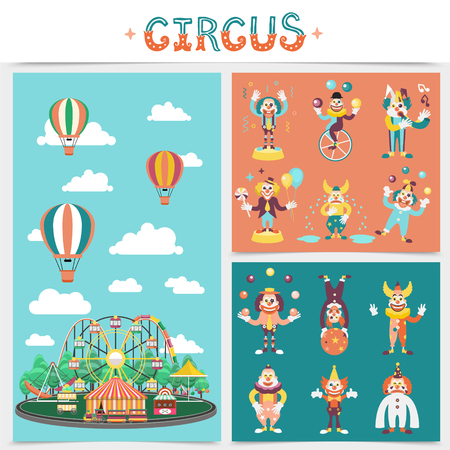 Flat carnival elements concept with amusement park carousels attractions circus tent hot air balloons clowns in different costumes perform funny tricks vector illustration Illustration