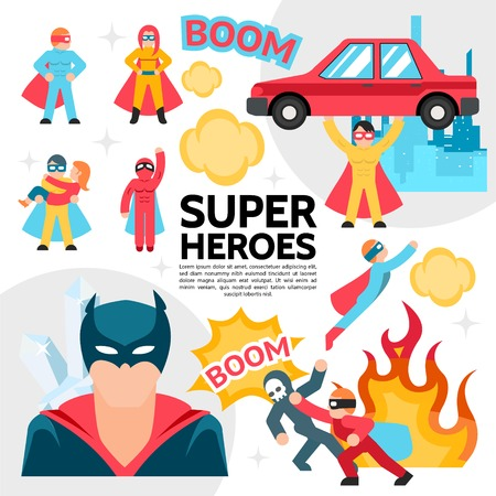 Flat superheroes template with super heroes in costumes perform different heroic actions speech bubbles fire vector illustration