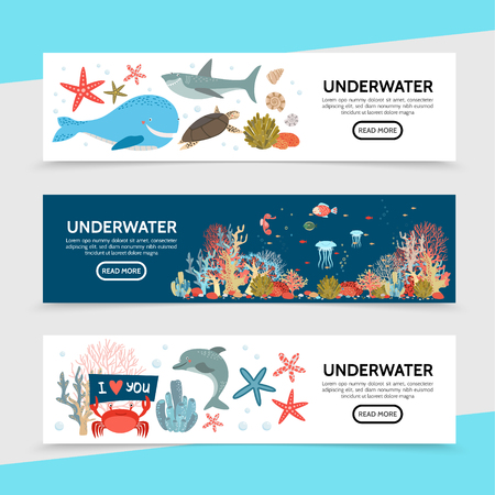 Flat sea life horizontal banners with whale shark turtle fish seahorse jellyfish starfish crab dolphin seaweed corals vector illustration