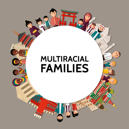 Flat multiracial people round concept with men women children of different ethnicities and sights of various countries isolated vector illustration
