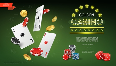 Realistic casino composition with flying playing cards poker chips gold coins and game red dices on green background vector illustration