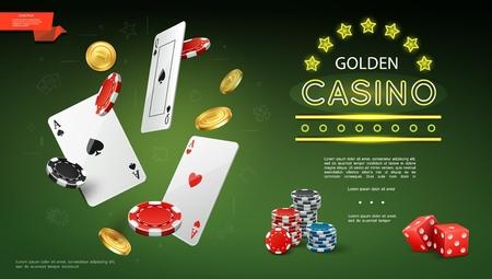 Realistische Kasinozusammensetzung mit fliegenden Spielkarten Pokerchips Goldmünzen und Spielwürfeln auf grünem Hintergrundvektorillustration