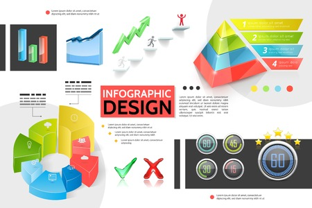 Realistic colorful infographic concept with marketing pyramid charts graphs bars business icons information indicators tick elements growing arrow vector illustration