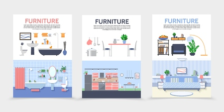 Flat home interior posters with kitchen bathroom living room furniture and accessories isolated vector illustration Illustration