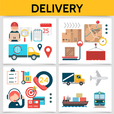 Flat logistic square concept with courier operator cargo container map checklist target truck ship train airplane delivery vector illustration Illustration
