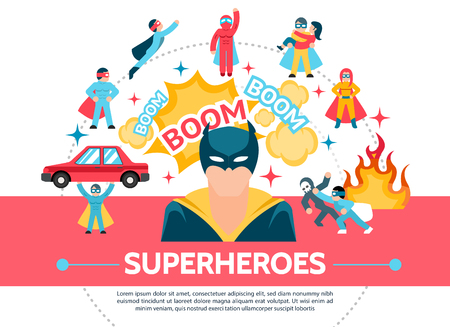 Flat superheroes concept with speech bubbles fire brave super heroes in different poses and heroic situations vector illustration Illustration