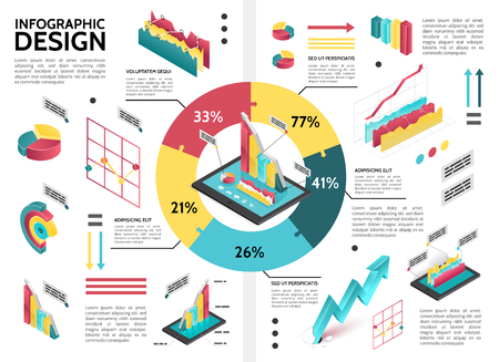 Isometric colorful business infographic template with cycle diagram pie chart graphs arrows data vector illustration