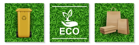Realistic ecology and nature elements set with plastic bin for garbage recycling hand holding plant logo paper bags on grass backgrounds isolated vector illustration