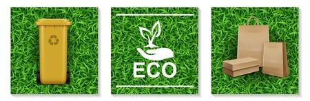 Realistische Ökologie- und Naturelemente, die mit Plastikbehälter für Müllrecycling-Hand, die Pflanzenlogo-Papiertüten auf Grashintergrund lokalisierte Vektorillustration gesetzt