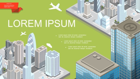 Isometric futuristic city landscape template with modern buildings flying airplane and helipad on roof of skyscraper vector illustration Illustration