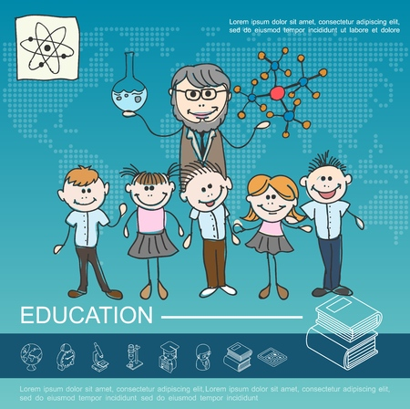 Hand drawn school education template with smiling kids teacher holding test tube and model of molecular structure vector illustration Illustration