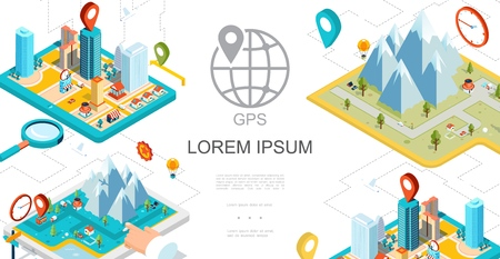Isometric mobile gps navigation composition with city mountains map pointers cars magnifier roads vector illustration Illustration
