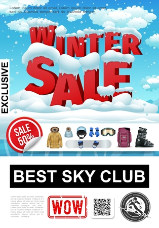 Realistic winter sale advertising poster with sport equipment and seasonal clothing on snowy landscape vector illustration Illustration