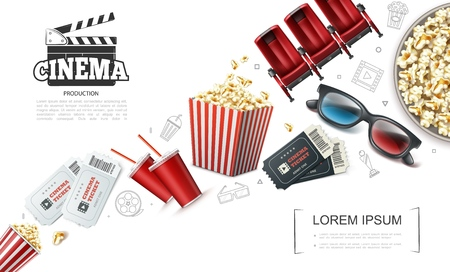 Realistic cinematography elements composition with tickets soda popcorn 3d glasses clapperboard cinema comfortable seats vector illustration