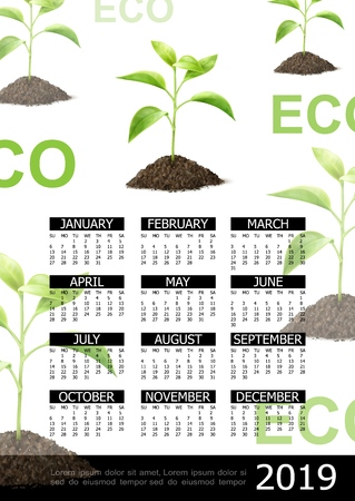 Realistic ecology 2019 year calendar concept with beautiful plants growing in ground vector illustration