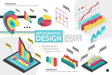 Isometric modern infographic concept with diagrams graphs pie charts for business presentation vector illustration