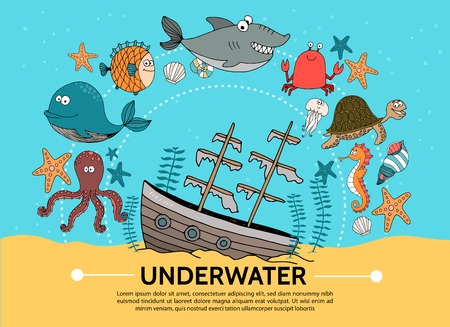 Flat underwater world concept with sunken ship whale octopus fish shark crab turtle starfish shell jellyfish sea horse seaweed vector illustration Illustration