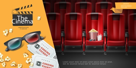 Realistic movie premiere template with 3d eyeglasses tickets popcorn bucket milkshake and comfortable red seats vector illustration