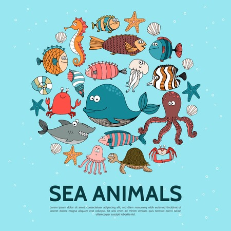 Flat sea life round concept with whale seahorse fish turtle crab lobster starfish jellyfish shark octopus vector illustration Ilustração