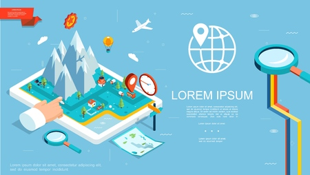 Isometric gps navigation template with mountains route map pointer on tablet screen pointing hand magnifier globe vector illustration