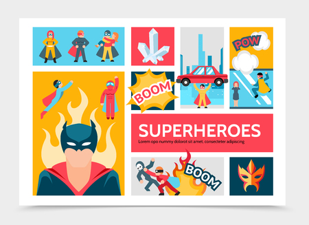 Flat super heroes infographic template with brave superheroes in colorful costumes masks capes perform different heroic actions vector illustration