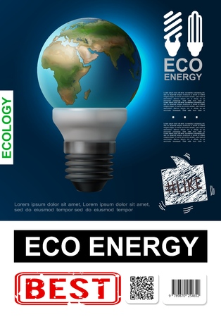 Realistic eco energy poster with Earth planet insted of glass in modern lightbulb Illustration