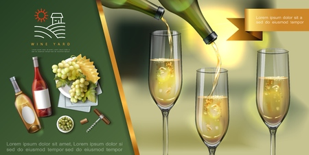 Realistic wine colorful template with white wine is poured into glasses from bottles