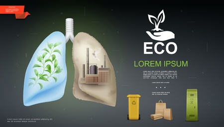 Realistic eco and nature template with green plant and industrial factory in different lungs