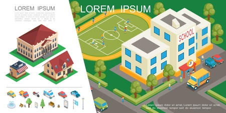 Isometric city colorful concept with school building football field transport suburban houses park elements vector illustration