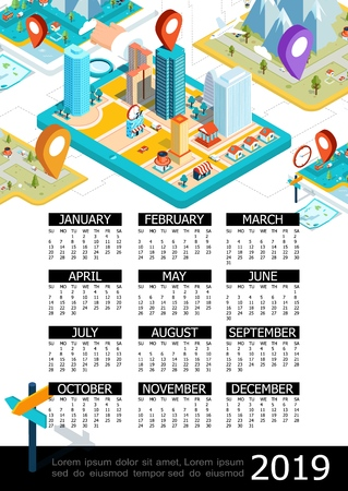 Isometric GPS 2019 year calendar poster with colorful map pointers magnifier city and mountains