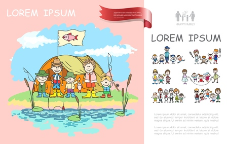 Hand drawn family camping template with tent father mother kids holding fishing rods near pond vector illustration
