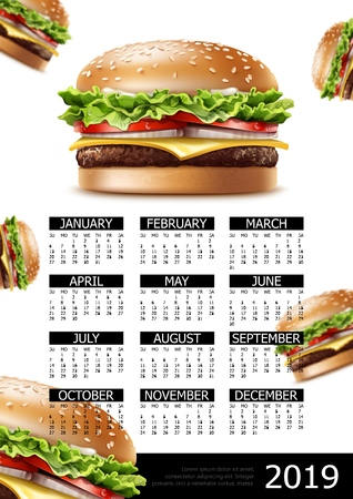 Fast food calendar 2019 year poster with realistic appetizing  american cheeseburgers Illustration