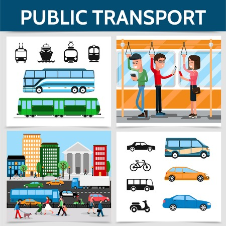 Flat public transport square concept Vectores