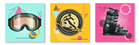 Colorful winter sport cards set